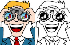 Profit Forecasting Set. Businessman uses his binoculars to see a financial chart - both color and black / white versions Stock Image