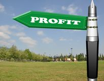 Profit fountain pen road sign Royalty Free Stock Photography
