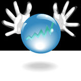 Profit Future Crystal Ball In Hands. Business Forecaster hands around a shiny, crystal ball with blue glow, predict a bright future of profit in a chart - graph Stock Images