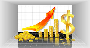 Profit with Gold Coins  red arrow and with dollar Stock Photo