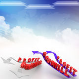 Profit goodwill illustrated in cloudy background Royalty Free Stock Photos