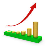 Profit graph of gold coins. Symbolic graph of gold coins and red arrow. 3D rendering Stock Photo