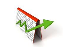 Profit graph with green arrows Stock Photo