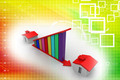 Profit graph and house Illustration Royalty Free Stock Images