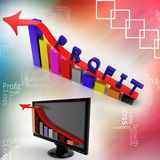 Profit graph and monitor bar graph illustrated Royalty Free Stock Images