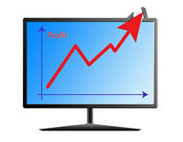 Profit graph on the monitor Stock Images