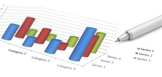 Profit graph with a silver ballpoint Stock Image