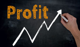 Profit and graph is written by hand on blackboard Stock Photos