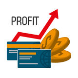 Profit graphics, vector illustration. Profit  concept with money and business icons design, vector illustration 10 eps graphic Royalty Free Stock Image