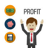 Profit graphics, vector illustration. Profit  concept with money and business icons design, vector illustration 10 eps graphic Stock Photography