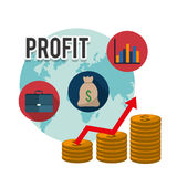 Profit graphics, vector illustration. Profit  concept with money and business icons design, vector illustration 10 eps graphic Royalty Free Stock Images