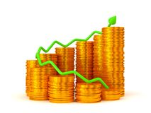 Profit: green graph over golden coins stacks. Over white Stock Images