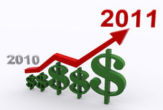 Profit Growth 2011. A 3D illustration of profit growth in 2011 Stock Photo