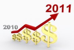 Profit Growth 2011. A 3D illustration of profit growth in 2011 Stock Photography