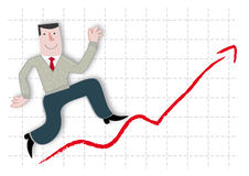 Profit and growth. Businessman happy about profits and growth Stock Photo