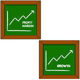 Profit and growth. Cartoon illustration showing a blackboard with the drawing of a graph portraying profits and growth for a company Royalty Free Stock Image
