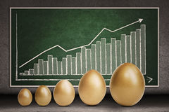 Profit growth on chalkboard. Profit bar chart and golden eggs on chalkboard Royalty Free Stock Photos