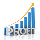 Profit growth chart, 3d render Royalty Free Stock Photos