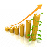 Profit growth chart with young plant, 3d render Stock Photo