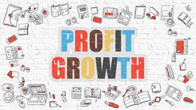 Profit Growth Concept with Doodle Design Icons. Profit Growth. Multicolor Inscription on White Brick Wall with Doodle Icons Around. Profit Growth Concept Royalty Free Stock Images