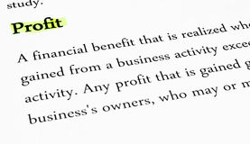 Profit Highlighted for Business Concept Stock Image