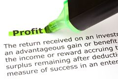Profit highlighted in green Stock Photography