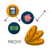 Profit icons design. Profit  concept with money and business icons design, vector illustration 10 eps graphic Stock Photos