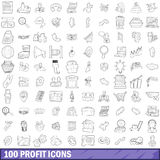 100 profit icons set, outline style Stock Photo