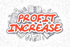 Profit Increase - Cartoon Red Text. Business Concept. Royalty Free Stock Image