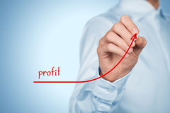Profit. Increase profit concept. Businessman plan (predict) profit growth represented by graph stock illustration