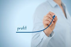 Profit. Increase profit concept. Businesswoman plan (predict) profit growth represented by graph Stock Photo