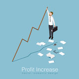Profit increase concept illustration. Profit increase isometric concept vector illustration. Business man has unexpected a big stock profit and trying to keep up Royalty Free Stock Image