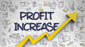 Profit Increase Drawn on Brick Wall. Profit Increase - Success Concept. Inscription on the White Wall with Hand Drawn Icons Around. Profit Increase - Line Style Royalty Free Stock Photos