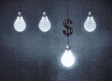 Profit increase ideas concept. Glowing lamps and dollar sign on concrete wall background. Profit increase ideas concept. 3D Rendering Royalty Free Stock Photos
