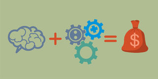 Profit and investment concept. Brains plus gears equally money p Royalty Free Stock Images