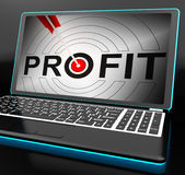 Profit On Laptop Showing Expected Incomes. And Growth Stock Photo
