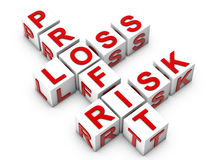 Profit Loos and Risk. Profit Loos Risk on white cubes over white background Royalty Free Stock Photography