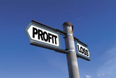 Profit or Loss. Signpost against brilliant blue sky pointing to profit or loss Royalty Free Stock Photography