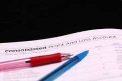 Profit and Loss. Consolidated Profit and Loss Account Stock Photography