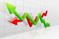 Profit and Loss Arrow. Vector illustration of profit and loss arrow for business graph Stock Photo
