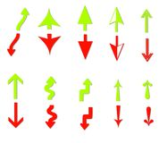 Profit and Loss Arrows Clip Art. An illustration featuring your choice of 10 profit and loss arrow groups in green and red colours Stock Image