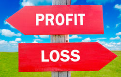 Profit and loss. Choice showing strategy change or dilemmas royalty free stock photography