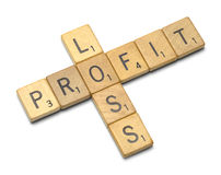 Profit Loss Cross Word Royalty Free Stock Photography