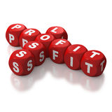 Profit and loss crossword puzzle dice. Profit and Loss as text on red dice or blocks on white background in the form of a crossword Royalty Free Stock Photos