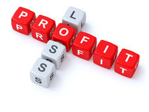 Profit loss crosswords Stock Photos
