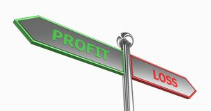 Profit or loss directions Stock Image