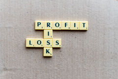 Profit, loss and risk crossword Royalty Free Stock Image