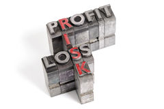 Profit Loss and Risk letterpress concept Royalty Free Stock Photos
