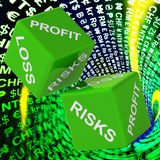 Profit, Loss, Risks Dice Background Shows Risky Investments. Or Commerce Stock Photo