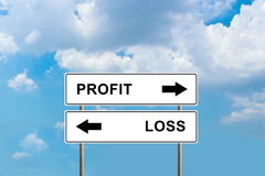 Profit and loss road sign Stock Photo